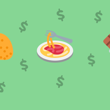 Illustrated taco, plate of pasta, and chocolate bar on green background with $ symbols