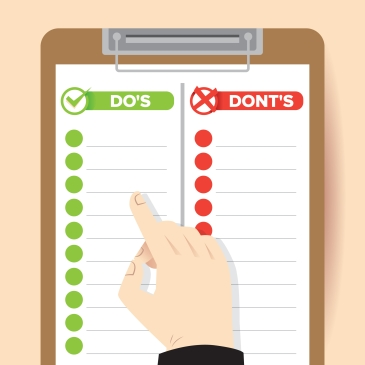 do and do not illustration vector, hand pointing on good and bad list